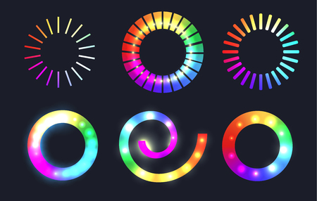 Set of rainbow loading sliders with sparkles. Vector element for  infographic, sites and your design