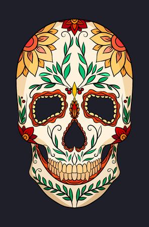 Kleurenillustratie van een suikerschedel. Het feest van de dag van de doden. Vectorelement voor uw creativiteit Stockfoto - 86914087
