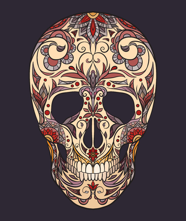 Color  illustration of a sugar skull. The holiday of the Day of the Dead. Vector element for your creativity Illustration
