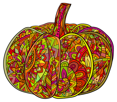 autumn colouring: Pop art doodle illustration of pumpkin with a boho pattern.