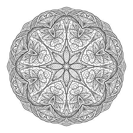Black and white doodle circular mandala with a boho pattern. Illustration