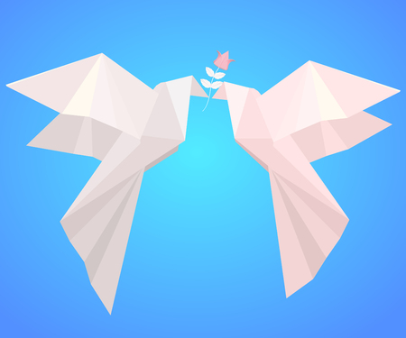 Pair of paper origami pigeons with  flower. Ilustracja