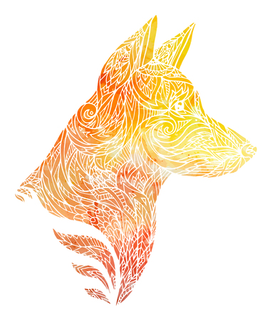 Scarabocchii l'illustrazione di una testa di cane con un modello tribale e un fondo giallo dell'acquerello. Anno nuovo di cane. Elemento vettoriale per tatuaggi, stampa su t-shirt, cartoline e il tuo design Archivio Fotografico - 88987510