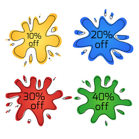 Set of color blots with discounts. Special offers. Sale. Vector element for your design