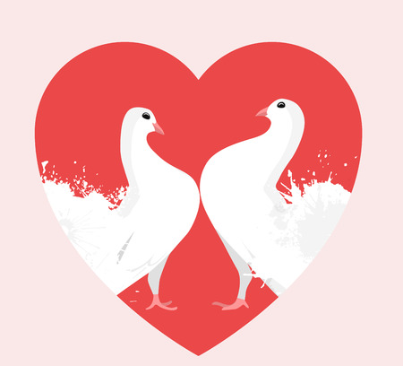 Illustration of white doves in the heart. Lovers. Valentine Day. Vector element for postcards and your creativity
