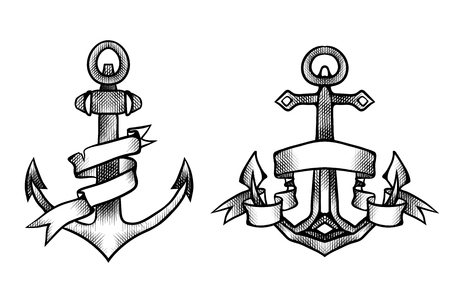 Vintage engraving anchors in black and white color with paper ribbon. Outline hand drawn illustration. Vector element for tattoos, print for t-shirts, coloring, emblems and for your design.