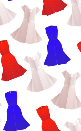 Seamless pattern with origami colored dresses. Vector background for your design.