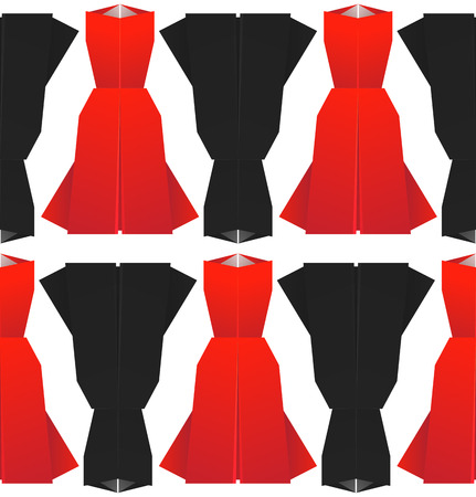 Seamless pattern with origami red and black dresses. Vector background for your design.