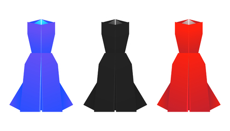 Set of origami colored dresses. Vector elements for your design. Illustration