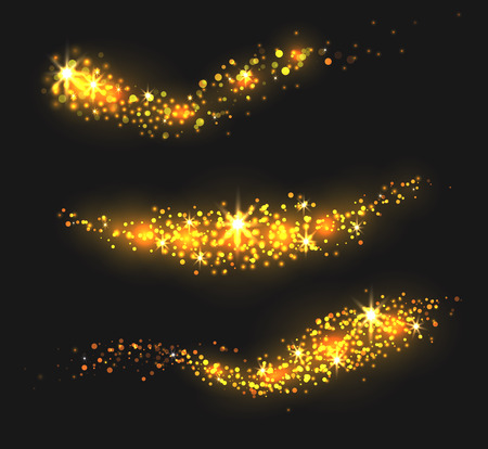 Set of golden stardust with sparkle, glitter and sequins. Vector elements for your design.
