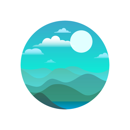 Round illustration of nature in blue hues. Vector element for your design.