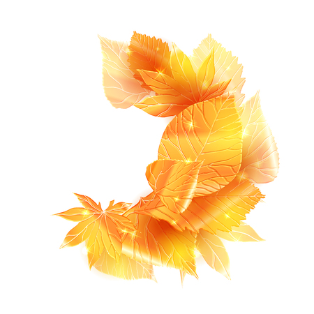 Scattered golden leaves. Vector element for banner, card and your design. Vettoriali