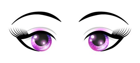 Female eyes with elements of space. Vector fashion illustration for your design. Ilustração