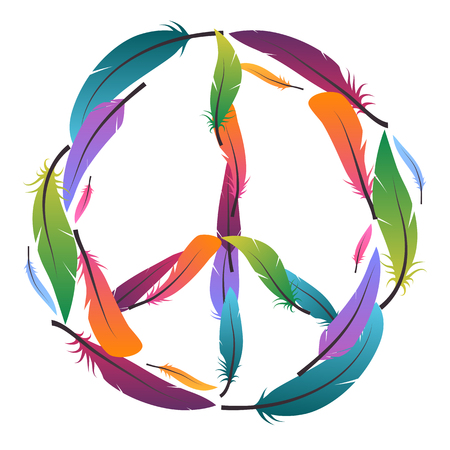 Colorful sign of peace made of feathers. Pacific. Vector element for your design. Illustration