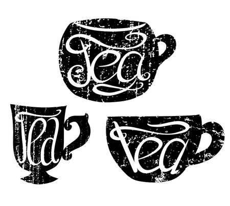 Set of teacups with Lettering and scratches. Hand drawn illustration. Vector element for your design.