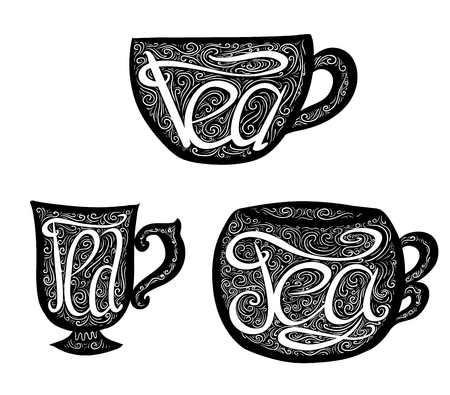 Set of black teacups with Lettering and doodle tracery. Hand drawn illustration. Vector element for your design. Stock Illustratie