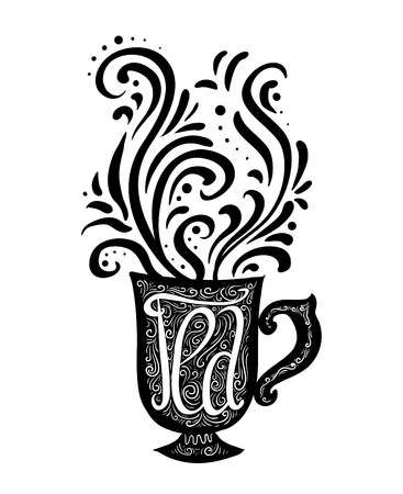 Hand drawn illustration with a lettering and a cup of tea and steam with a pattern. Vector element for printing on a T-shirt, postcard, cover and for your creativity