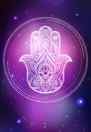 Vector neon illustration of Hamsa with boho pattern, background space with stars and nebula. Spiritual, magical illustration for your creativity. Illustration