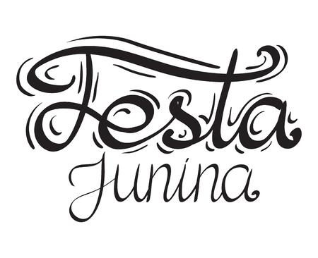 Lettering Festa junina. Hand drawn lettering. Vector element for festive postcard, greeting card and your design.