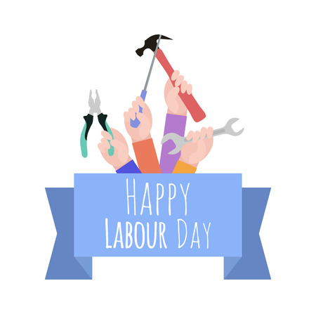 Postcard to the Day of Labor. Working with tools. Ribbon with congratulations. Happy Labor day