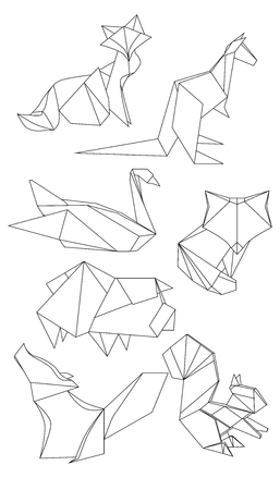 Set of polygonal contour animals. Black and white vector elements for your design