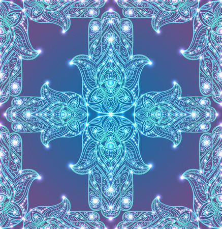 Seamless texture with colored tribal Hamsa with boho pattern.