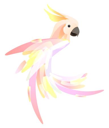 Gestileerde afbeelding van een papegaaikaketoe met een veelkleurige staart. Vectorelement voor logo's, pictogrammen en uw ontwerp