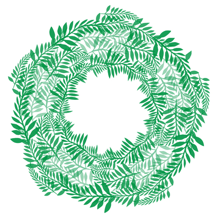 Round wreath of green branches. Frame of fern for invitation cards, postcards and your design Ilustração