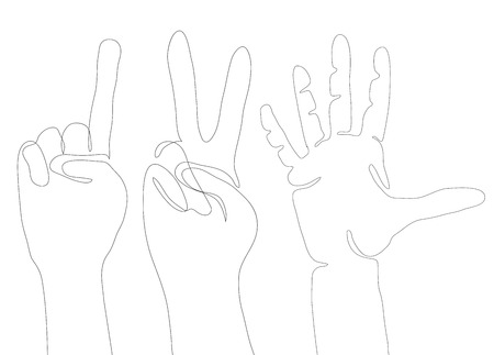 Gestures of hands from continuous line. The gesture of peace, indicating finger, five. Vector element for your creativity Illustration