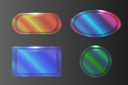 Set of transparent pearlescent banners of different shapes. Vector element for your design
