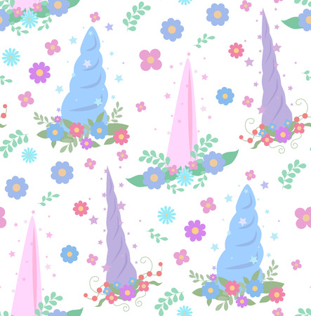 Seamless gentle pattern with unicorn horns, wreaths of flowers and stars on a white background. Vector texture for wallpaper, fabrics and your creative network Illustration