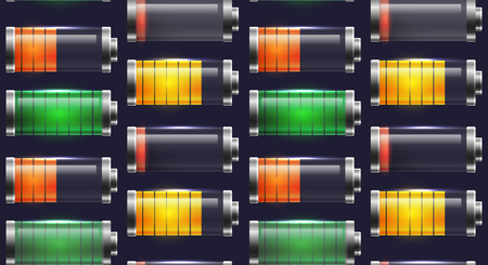 Seamless texture with various types of transparent batteries charge. Vector pattern for mobile phone interface, elements of the site and your design.