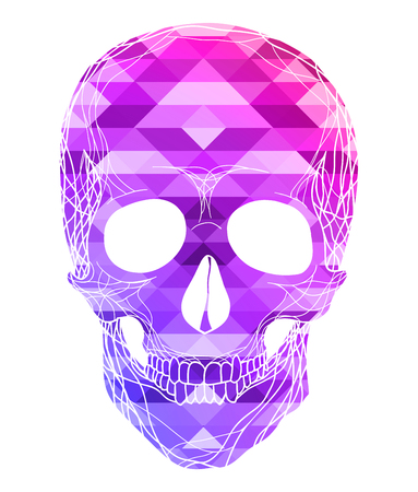 Illustration of human skull with polygonal background. Front view. The element is separate from the background. Vector element for your creativity Ilustração
