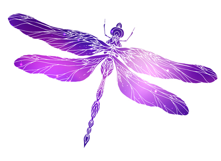 Dragonfly illustration with a boho pattern and cosmic background.  Vector element for sketching tattoos, printing on T-shirts, postcards and your creativity Illusztráció