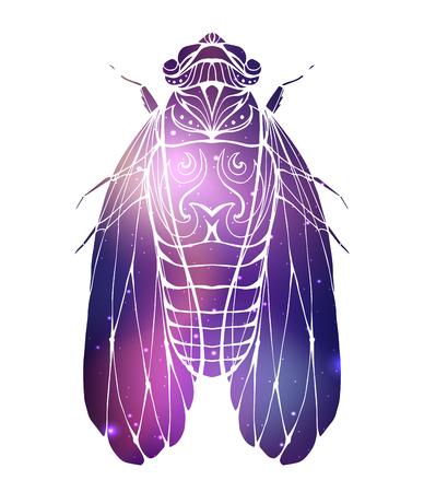 Cigale vintage dessinée à la main avec un motif boho et un fond cosmique. Insecte avec motif de griffonnage. Élément de vecteur pour croquis de tatouage, impression sur T-shirts, cartes postales et votre conception