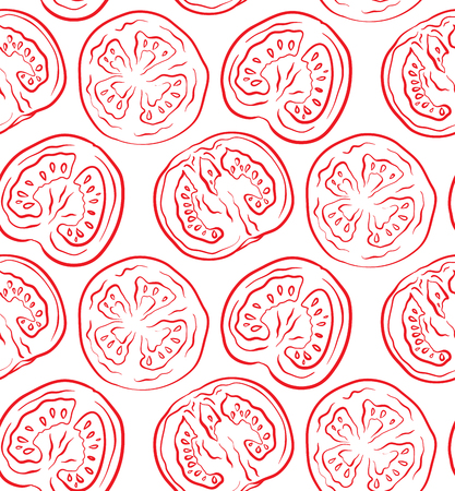 Seamless pattern with tomatoes in a cut. Vector outline illustration. Vegetable texture for wallpaper, design of sites and your design