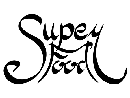 Lettering Superfood written by hand. Calligraphic inscription. Vector element for banners, printing on T-shirts, postcards and your design