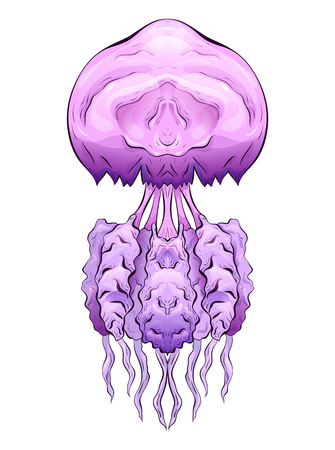 Colorful illustration of jellyfish. The object is separate from the background. Illustration for printing on T-shirts, covers, sketches of tattoos and your design.