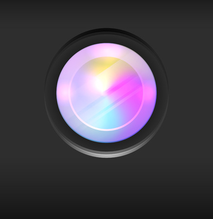Illustration of a camera lens with rainbow divorces on dark background. Vector element for articles, banners and your creativity