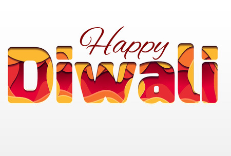 3d inscription of the festival Diwali, made of layers of paper. Happy Diwali. Vector element for greeting cards, congratulations, invitations and your creativity