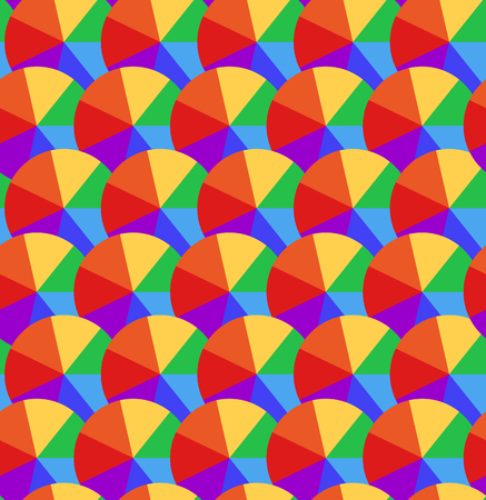 Seamless texture with rainbow circles divided into segments. Multicolored umbrellas. Vector child pattern for wrapping paper, wallpaper in the nursery and your creativity.