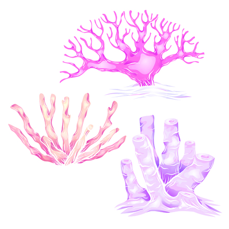 Set of various neon cartoon corals. The object is separate from the background. Illustration for printing on T-shirts, covers, stickers and your design. Vettoriali