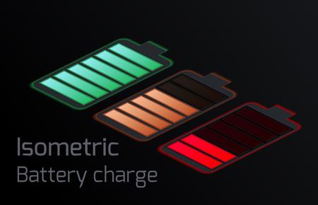 Set von isometrischen verschiedenen Arten von transparenten Batterien. Vektorelement für Mobiltelefonschnittstelle, Elemente der Website und Ihres Designs