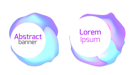 Set of abstract foil banners. Liquid iridescent banners. Objects separate from the background.