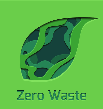 Set of green 3d tree leaf cut out from paper.  Zero waste.