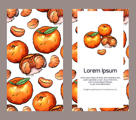 Vertical double sided banners  with tangerines and place for the text on white background. Illustration