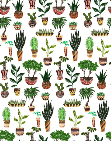 Seamless texture with of cartoon home flowers in pots with decorations on white background. Vector pattern for fabrics, wallpapers, backgrounds and your creativity Ilustração