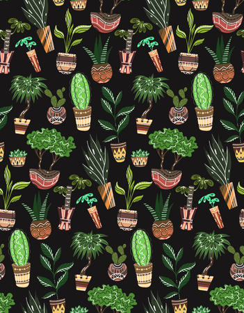 Seamless texture with of cartoon home flowers in pots with decorations on black background. Vector pattern for fabrics, wallpapers, backgrounds and your creativity