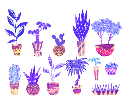 Set of neon cartoon home flowers in pots with decorations. Objects separate from the background. Vector element for stickers, buttons, cards and your creativity
