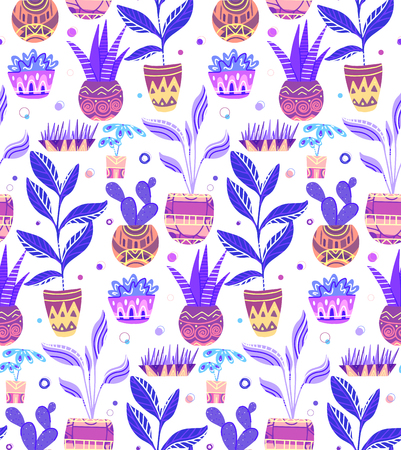 Seamless neon texture with of cartoon home flowers in pots with decorations on white background. Vector pattern for fabrics, wallpapers, backgrounds and your creativity Ilustração